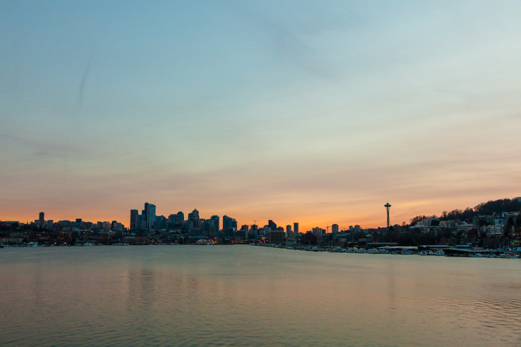 Sunsetting over Seattle Skyline