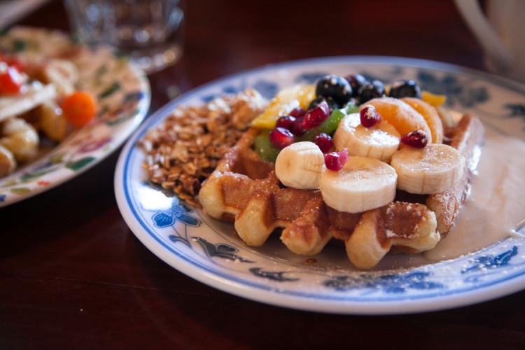 Waffle topped with fruit •Waffle Window