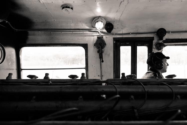 Black and white in a steam train