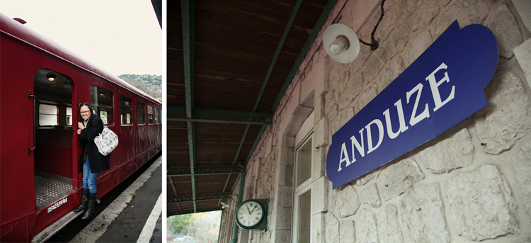 Arriving in Anduze by train