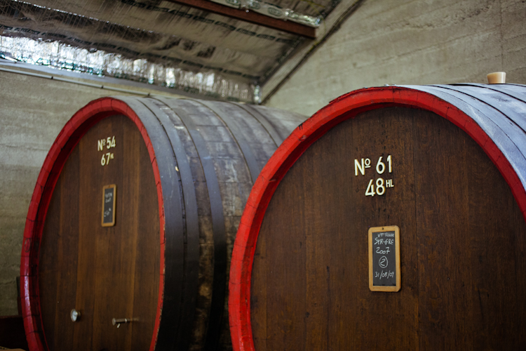 Wine aging in wooden barrels