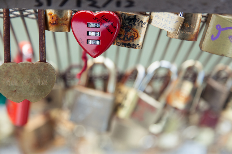Heart lock at Pont des Arts bridge