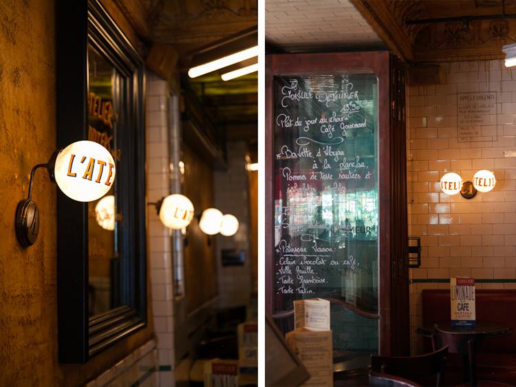 Interior photos of Café L'Atelier, Paris