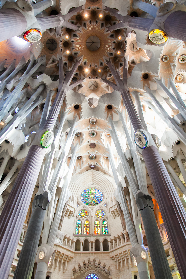Magnificent ceiling of Sagrada Familia