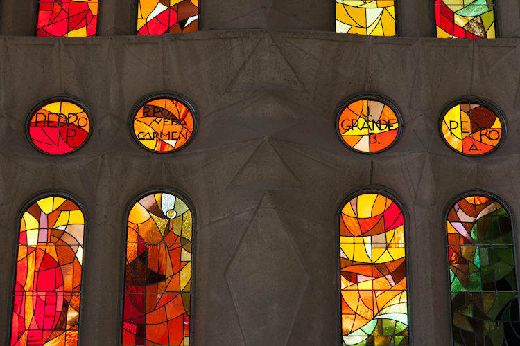 Stained glass windows at Sagrada Familia
