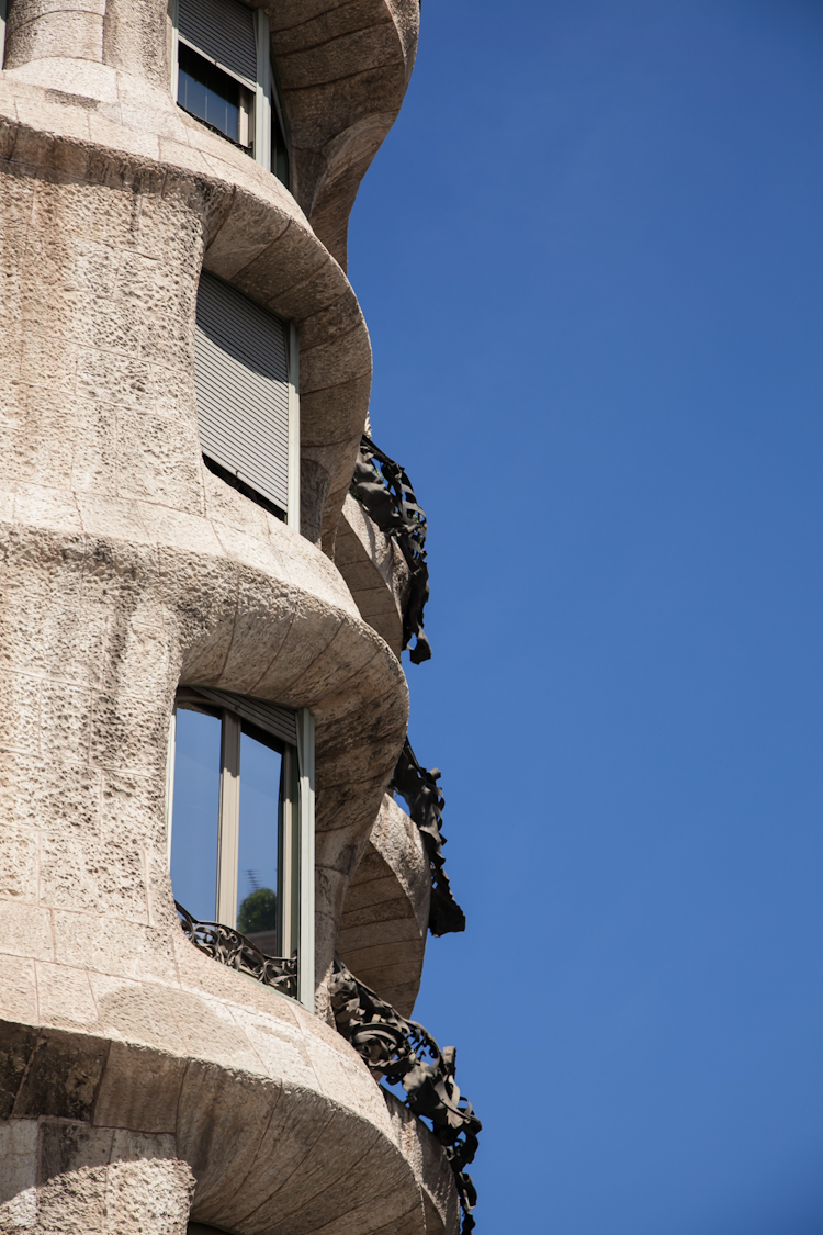 Exterior profile of Casa Milà in Barcelona