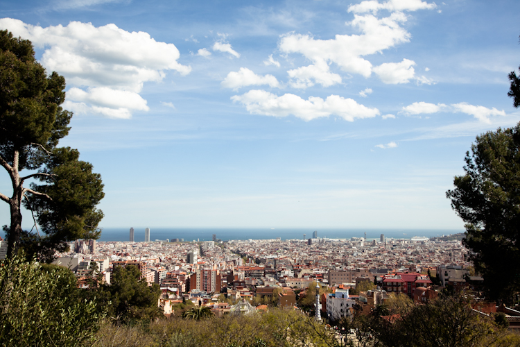 City view from Park Güell in Barcelona