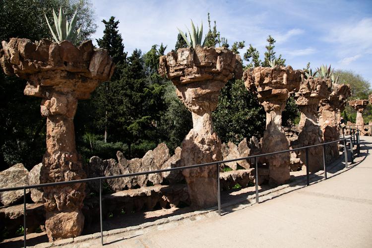 Park roadway in Park Güell in Barcelona