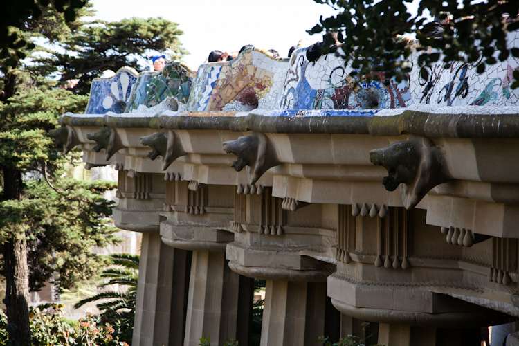 Mosaic terrace at Park Güell in Barcelona