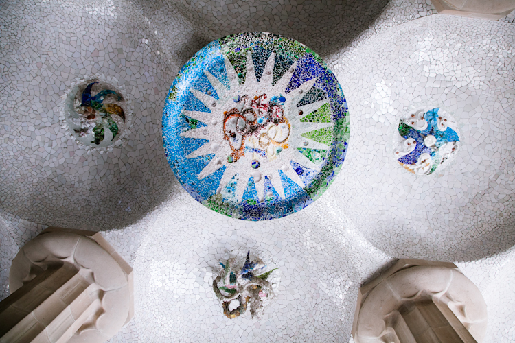 Ceiling mosaic at Park Güell in Barcelona