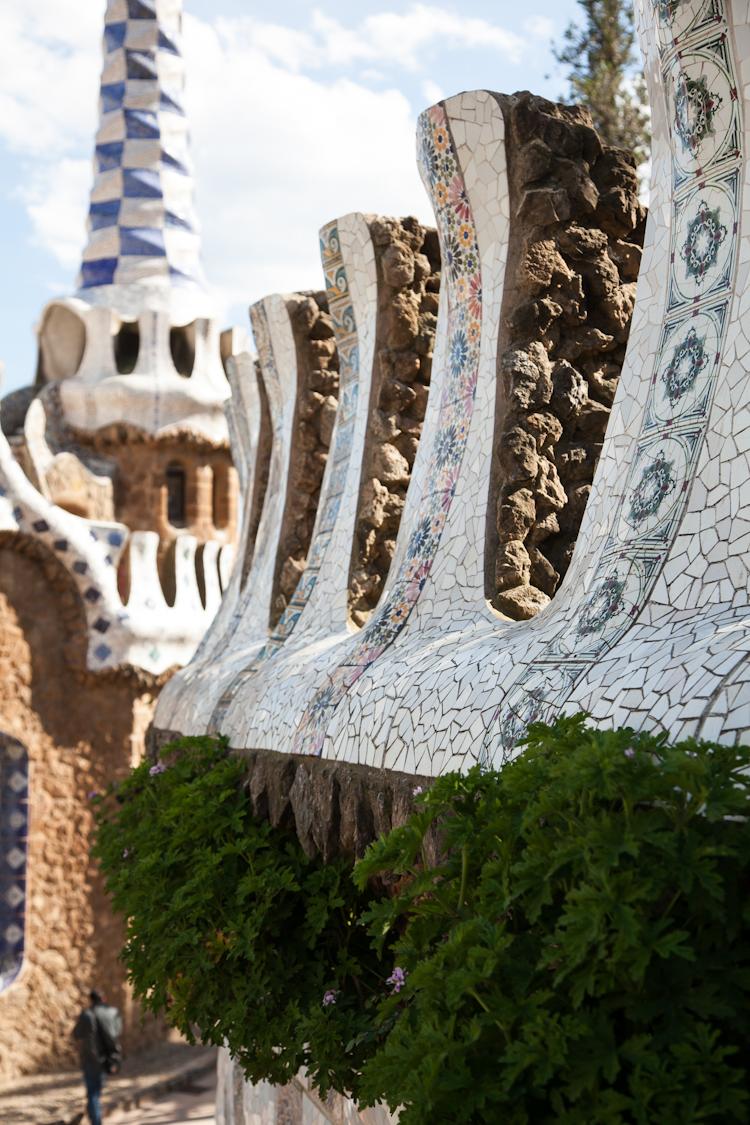 Mosaic wall, Park Güell in Barcelona
