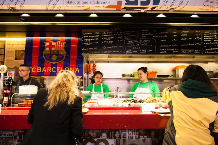 Food stall at La Boqueria