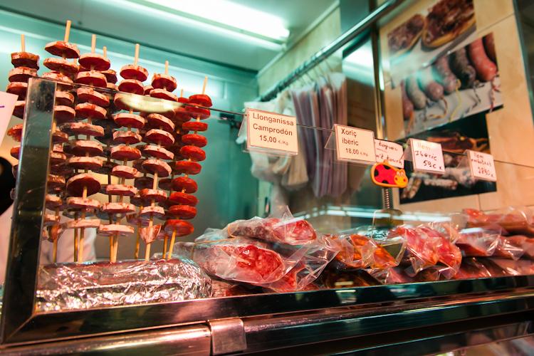 Meat vendor at La Boqueria