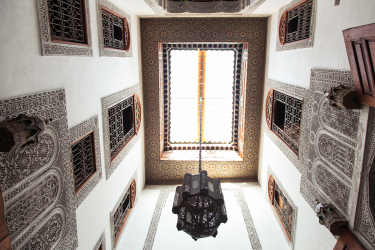 Looking up at the open roof • Moroccan riad architecture