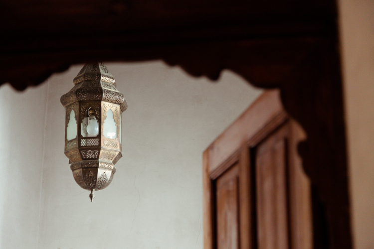 Moroccan lamp and doorway detail