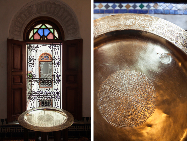 Window and table tray in Fez, Morocco