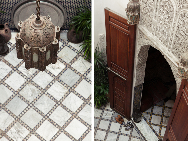 Moroccan lamp and door details at the riad Dar El Menia