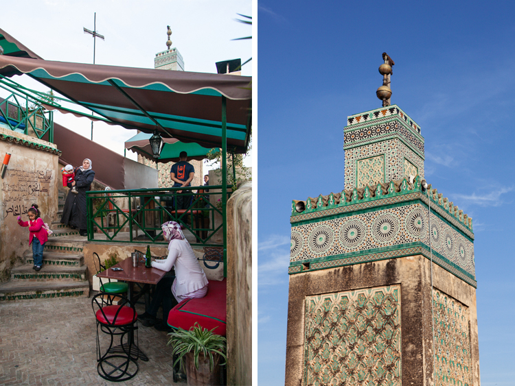 Terrace and clock tower at Café Clock. Fez, Morocco