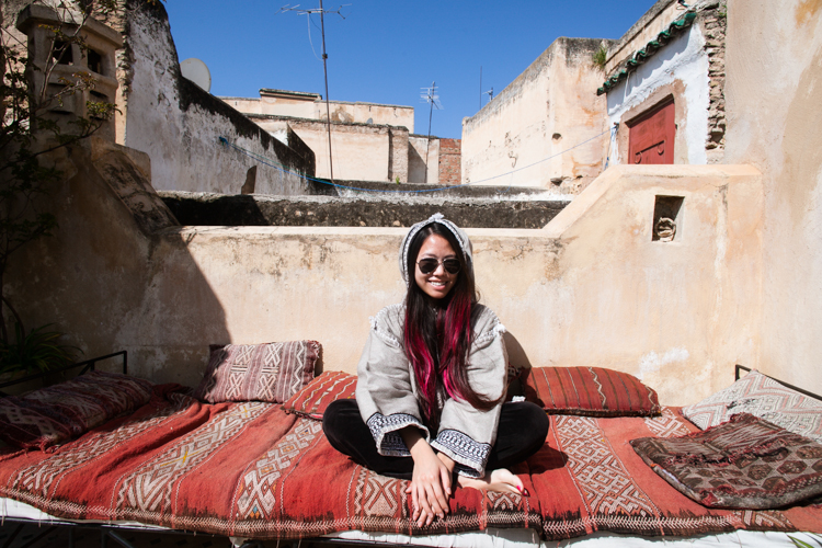 Sunbathing on a Moroccan terrace