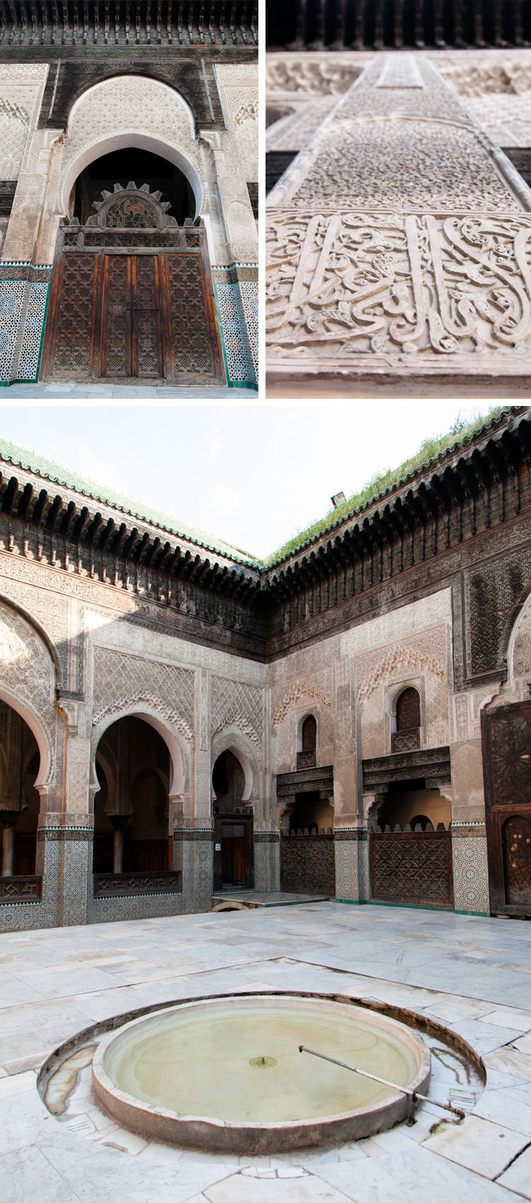 Architecture details at Medersa Bou Inania, Fez, Morocco