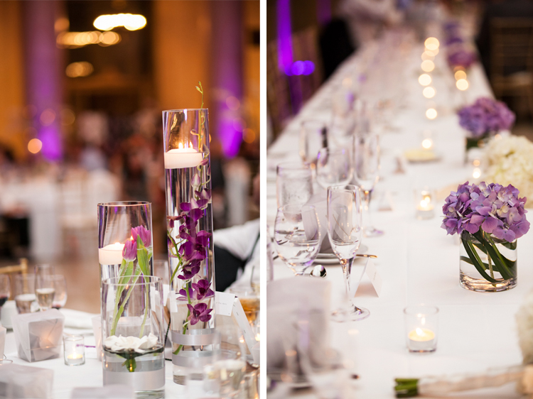 Purple flowers and candles at a wedding