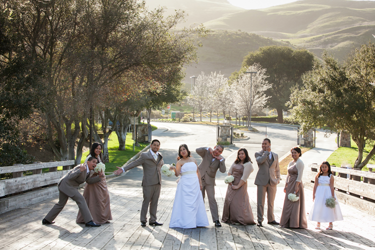 Fun, casual bridal party photo at sunset