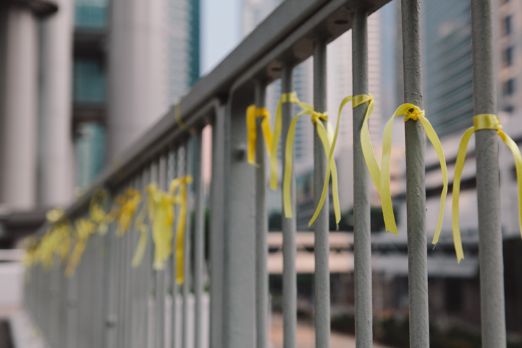 Yellow Ribbons for Occupy Central in Hong Kong