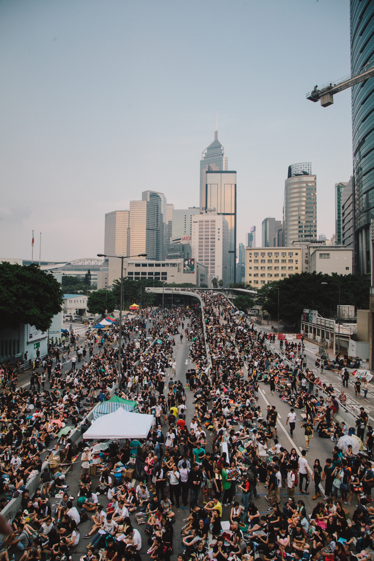 Looking towards Wanchai at Occupy Central in Hong Kong