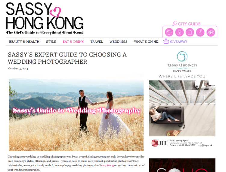 Top Wedding Photographer on Sassy Hong Kong