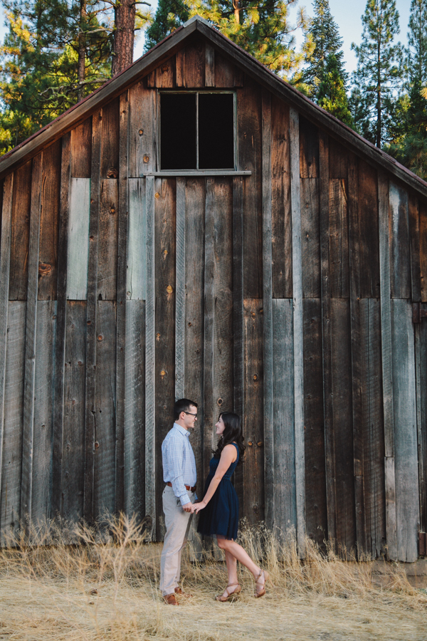 Couple at a rustic barn