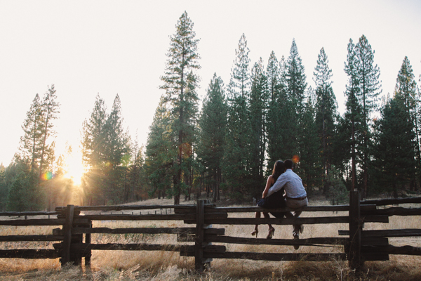 Sun setting over the woods • Engagement in Yosemite, California