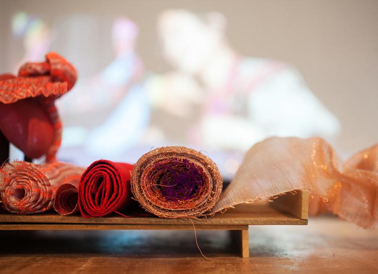 Metallic woven fabrics by Elaine Ng