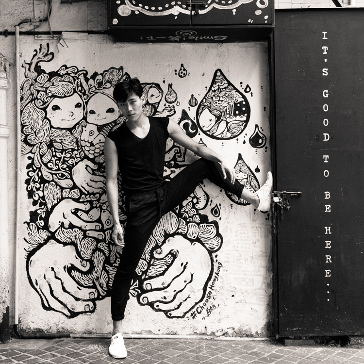 Black and white dancer, Hong Kong