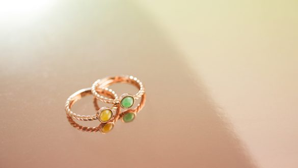 Rose gold jade rings for stacking by TRACE | minimal jewelry photography