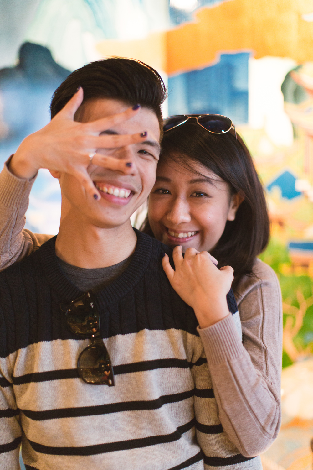 Colorful engagement photos • Causeway Bay, Hong Kong