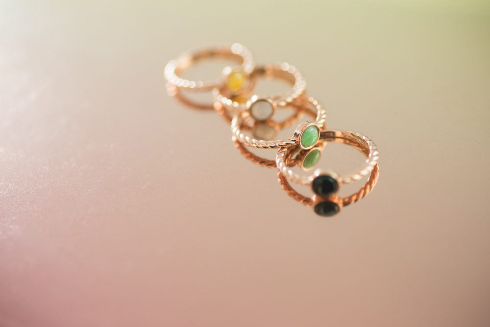 TRACE Candy Stack rose gold rings – minimal jade jewelry