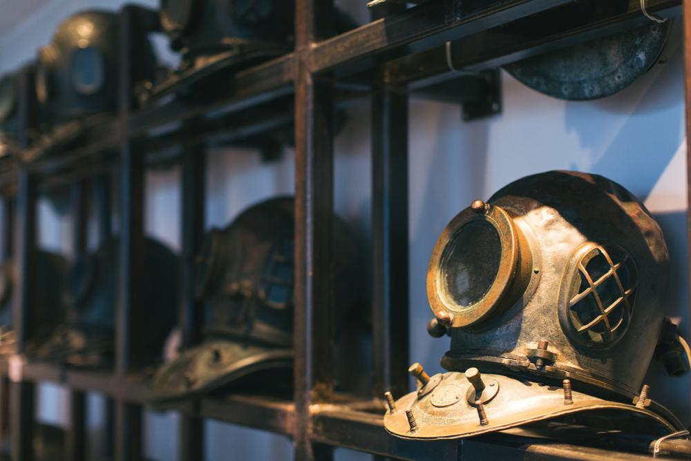 Heavy vintage diving helmets | Hong Kong Maritime Museum
