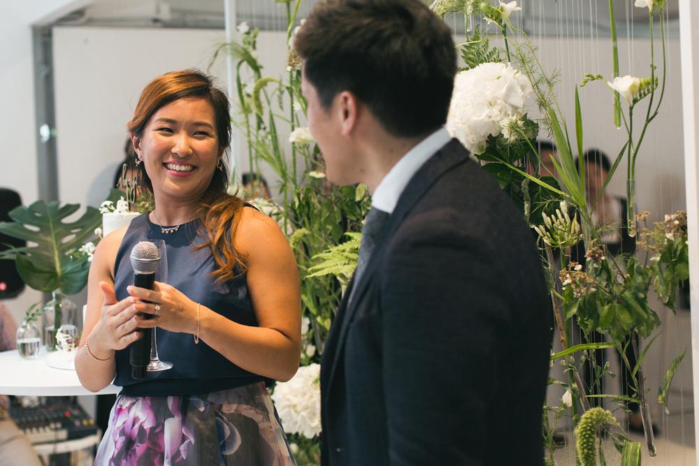Candid wedding speeches | Rachel and John at Pomegranate Kitchen