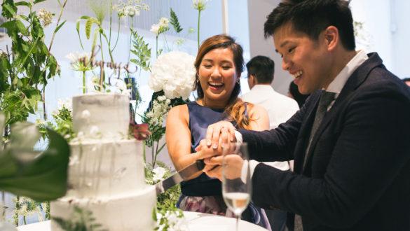 Fun cake cutting at Rachel and John's wedding | Pomegranate Kitchen