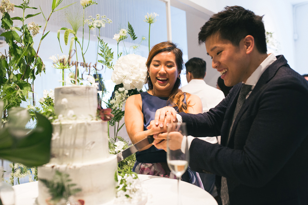 Fun cake cutting at Rachel and John's wedding | Pomegranate Kitchen