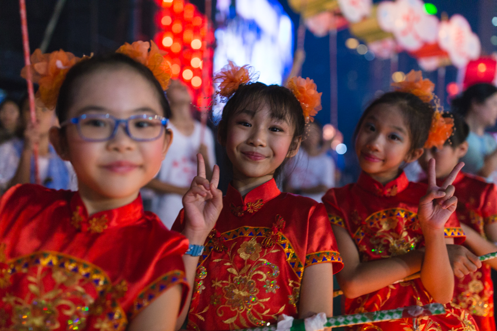 Little girls with lanterns at Tai Hang Fire Dragon Dance