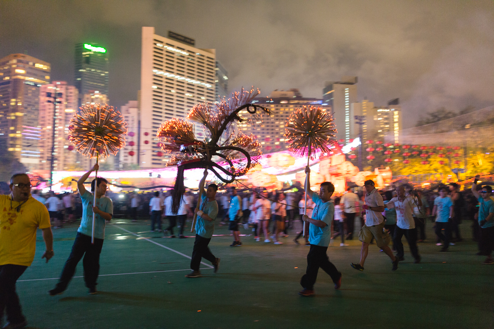 Victoria Park Hong Kong displaying Tai Hang Fire Dragon Dance