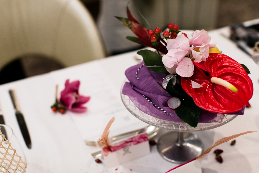 Cena Rosa - floral arrangement and table arrangement