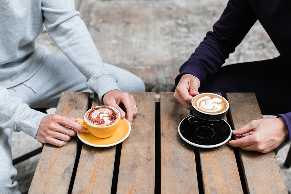 Morning coffee in comfortable sweats   UNCVR men's clothing