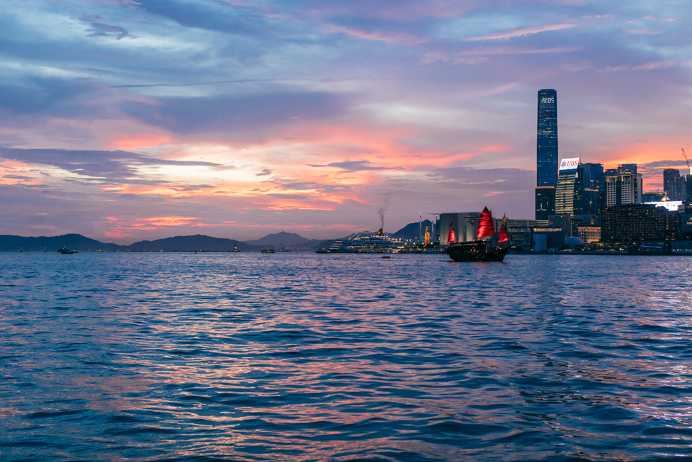 Hong Kong colorful sunset over Victoria Harbour | Tracy Wong