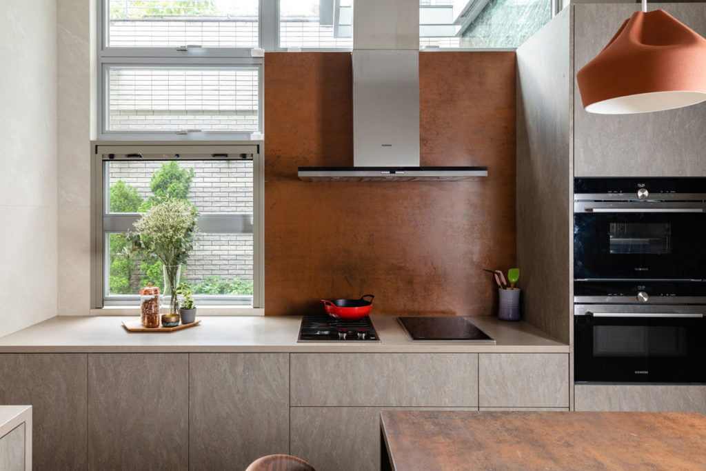 Rust finish backsplash - Kitchen design