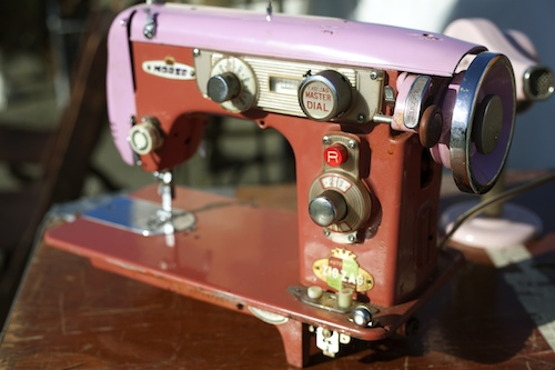 Pink and red sewing machine