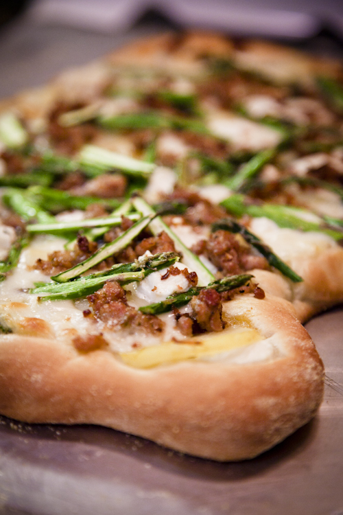 Goat Cheese Pizza with Sausage, Fingerling Potatoes, & Asparagus
